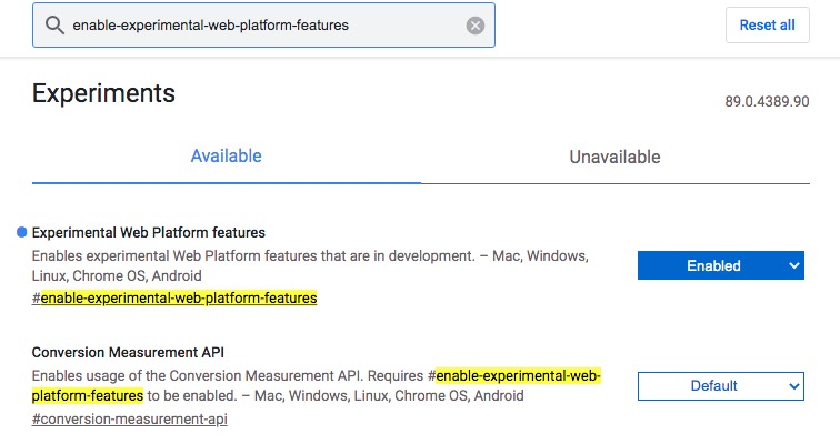 enable-feature in side chrome